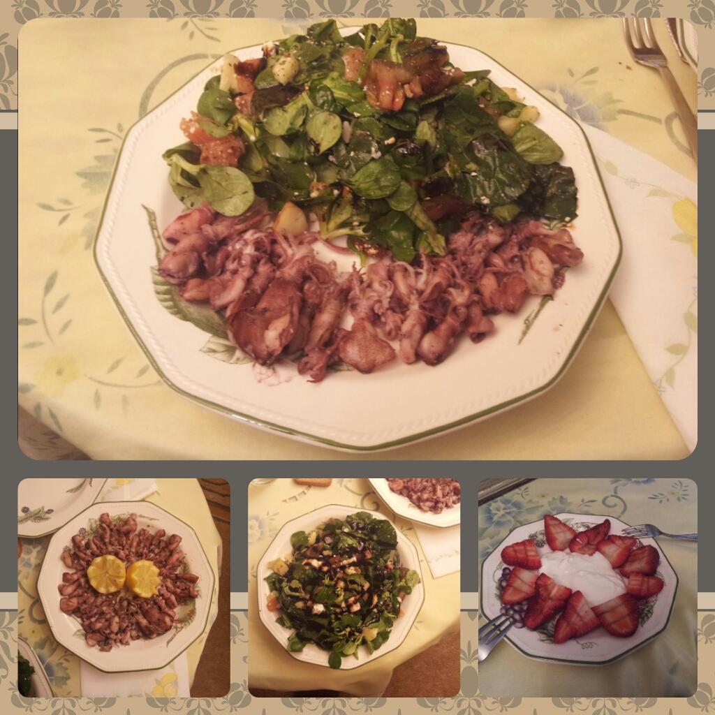Cena saludable - Chipirones y ensalada completa